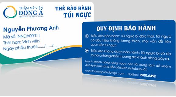 Bảo hành túi ngực vĩnh viễn cho khách hàng nâng ngực tại TMV Đông Á 1